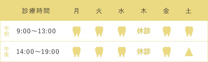 診療時間 午前9:00~13:00 午後14:00~19:00 木 休診 ※歯科口腔外科は要予約